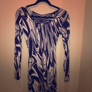 Black & white body con dress long sleeve